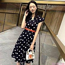 Little-Luck~ MIUCO女裝2019夏新款中長款名媛氣質V領法國復古裙山本波點連身裙