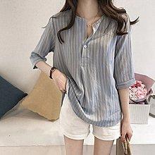 Maisobo 韓國KOREA  夏季自留開襟條紋七分袖襯衫 R-231  預購 中大尺碼