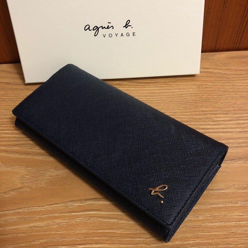 全新 agnes b. 藍色 深藍色 草寫b logo 扣式 防刮 長夾 信封式 翻蓋 牛皮 女用 保證真品 正品 皮夾