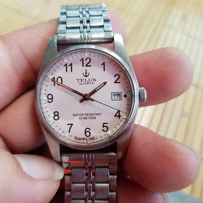 <行走中>日本 TELUX  <水晶鏡面>漂亮。中規中矩。清晰。石英錶。另有 機械錶 老錶 滿天星 潛水錶 三眼錶 陶瓷錶 中性錶 G1