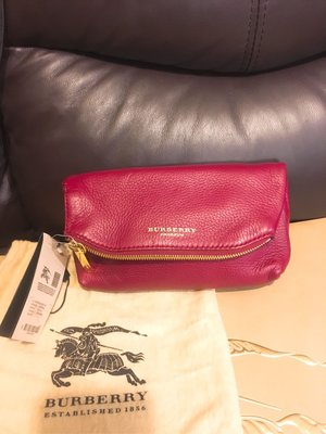 100%real Burberry leather clutch bag