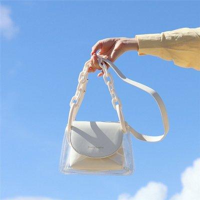 女包斜挎果凍包法國質感流行包包2020年新款女生潮白色小方包@di67602