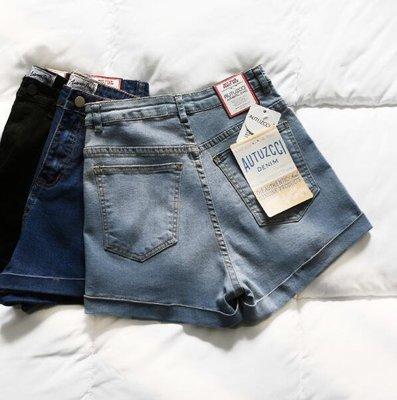 高腰牛仔短褲 韓版百搭彈力修身顯瘦卷邊女褲熱褲—莎芭