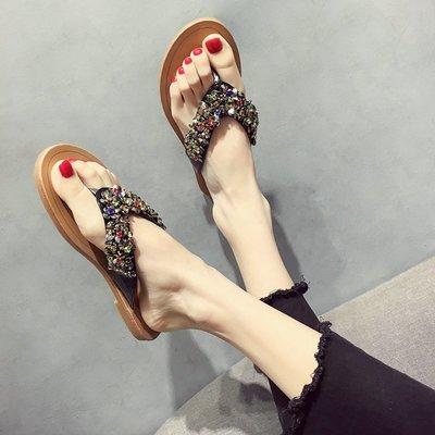 小尤家~網紅拖鞋女可愛ins夏季新款韓版外穿百搭水鉆人字平底涼拖鞋