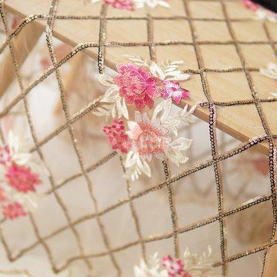 橙子的店 W223菱形亮片雙生花刺繡軟網紗色織平繡蕾絲布料連衣裙服裝面料
