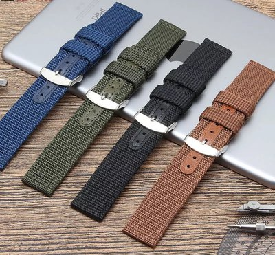 錶帶屋 24mm 直身尼龍錶帶帆布錶帶帆布帶代用 HAMILTON 漢米頓PANERAI 沛納海 SEIKO