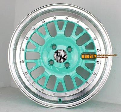 HellaFlush海拉風 風格 16吋大J數網狀樣式 4孔100 / 8J / ET25 Tiffany綠車邊