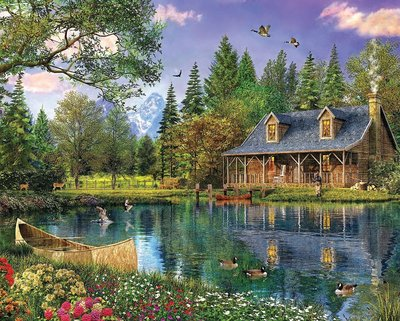 美版 WHI.河畔小屋.1000片拼圖,1147PZ