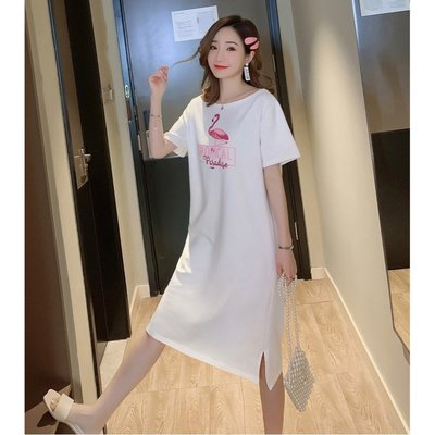 *Angel  Dance*短袖純棉洋裝(2色)韓國 M到4X L 開叉 T恤裙 一字領 露肩 大中尺碼@現貨+預購