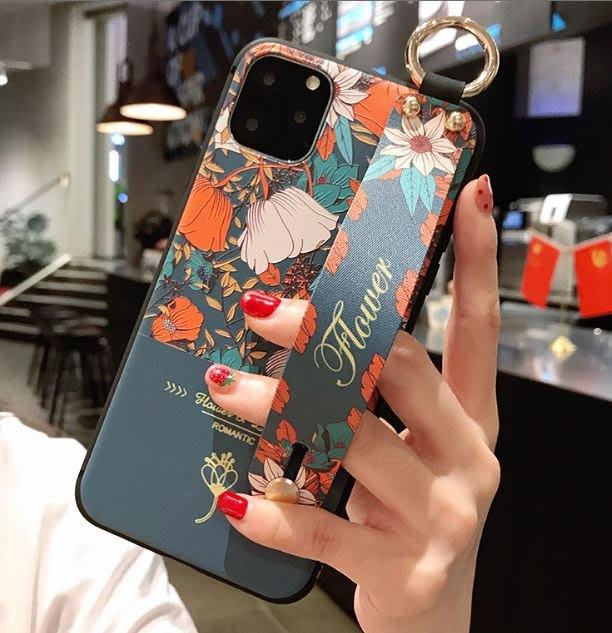 ♥現貨♥復古花朵花卉細浮雕+金屬扣環+手腕帶支架手機殼/全包軟殼保護套 IPHONE11 XR XS 莫蘭迪系