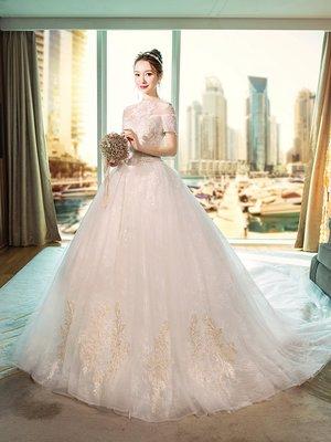 婚紗 禮服 宮廷婚紗禮服女2019新款立領復古齊地公主新娘結婚顯瘦夢幻長拖尾