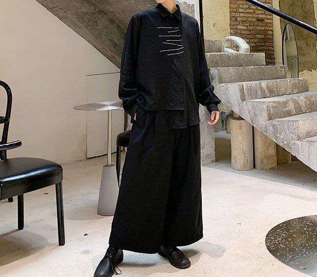 FINDSENSE 2019 秋季上新 G19 日系暗黑不規則條紋繡花純色襯衫黑色白色素面襯衫 男裝 上衣