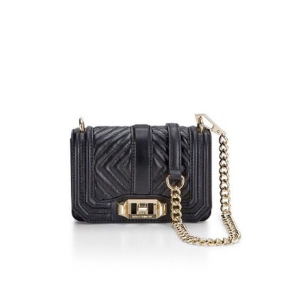 現貨 Rebecca Minkoff Geo Quilted Mini Love 斜條紋迷你肩背包 黑色金鏈