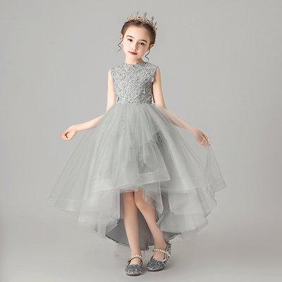 漢服 連身裙 長裙 童裝 旗袍女童晚禮服公主裙小女孩洋氣花童走秀主持人鋼琴演出服兒童蓬蓬紗