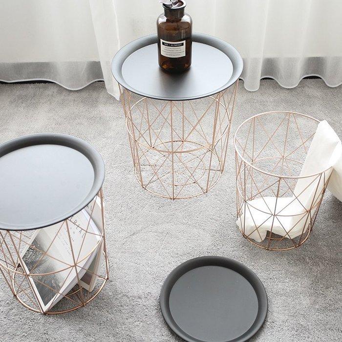 [ Atelier Smile ] 鄉村雜貨 北歐風 鐵製小茶几 邊桌 床頭櫃 收納籃 # 小 30X34 (現+預)