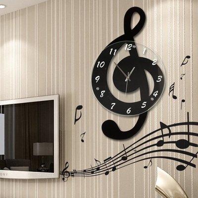 掛鐘 音樂音符北歐客廳家用時尚創意鐘表個性石英裝飾時鐘靜音藝術掛鐘   全館免運