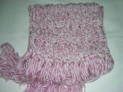 ~~幸福糖果屋~~手工圍巾-秋冬款《粉紅+白》