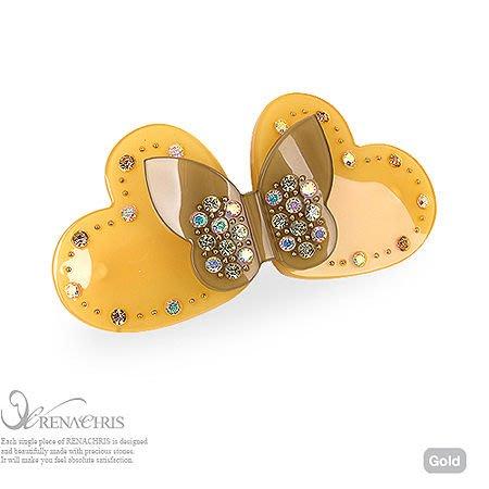 BHI505-法國品牌RenaChris 施華洛世奇晶鑽漂亮蝴蝶髮夾 彈簧夾-附原裝包裝盒【韓國製】