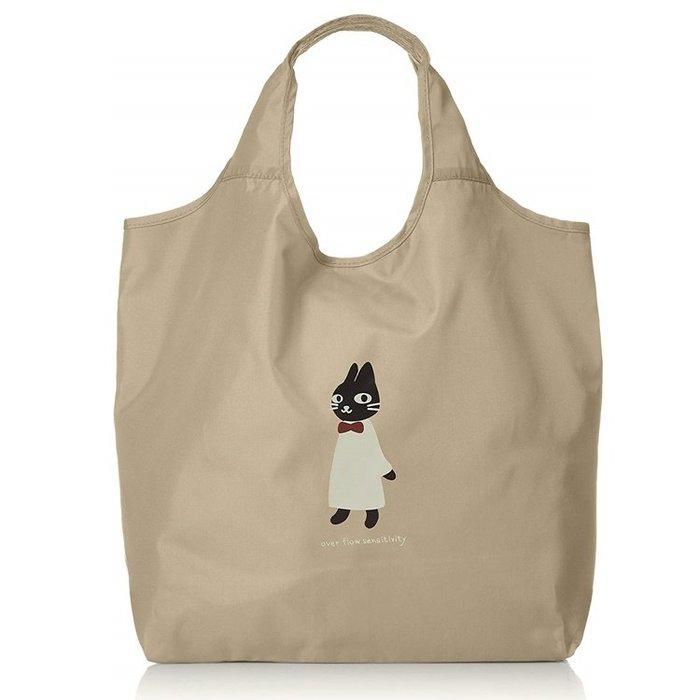 【露西小舖】日本NEKONINGEN輕量可摺疊收納大容量防水手提袋購物袋環保袋適合逛街、購物[日本平行輸入]
