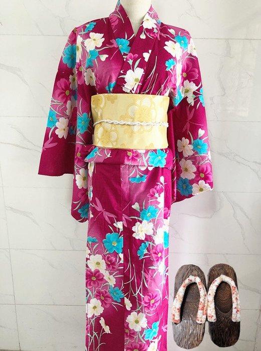 01清倉日本全棉和服浴衣 波斯菊