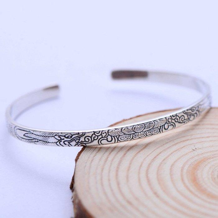 周可可 小黑銀飾925純銀開口手鐲民族風雕刻蓮花花紋手飾品037617w ZC4769