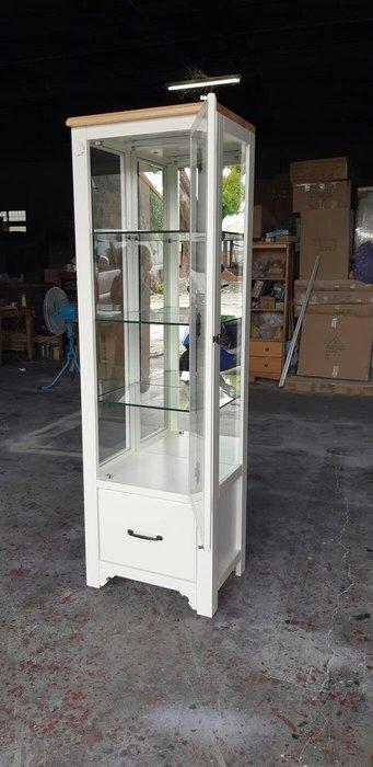 鄉村家具 客製化 訂製品 美生活館 茵儷 雙色 (淺木色+象牙白色) 單門單抽玻璃櫃 收納櫃 展示櫃 也可修改尺寸報價