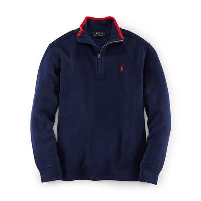 全新美國Polo Ralph Lauren 藍色繡馬厚棉立領長袖上衣 大童L