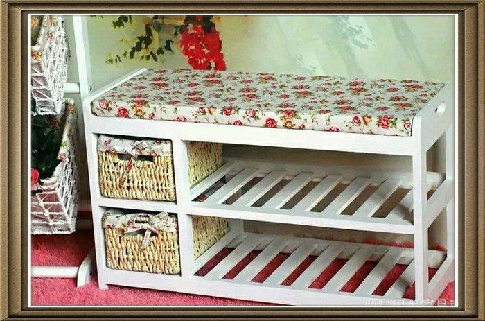 粉紅玫瑰精品屋~韓式田園創意鞋櫃 收納椅~