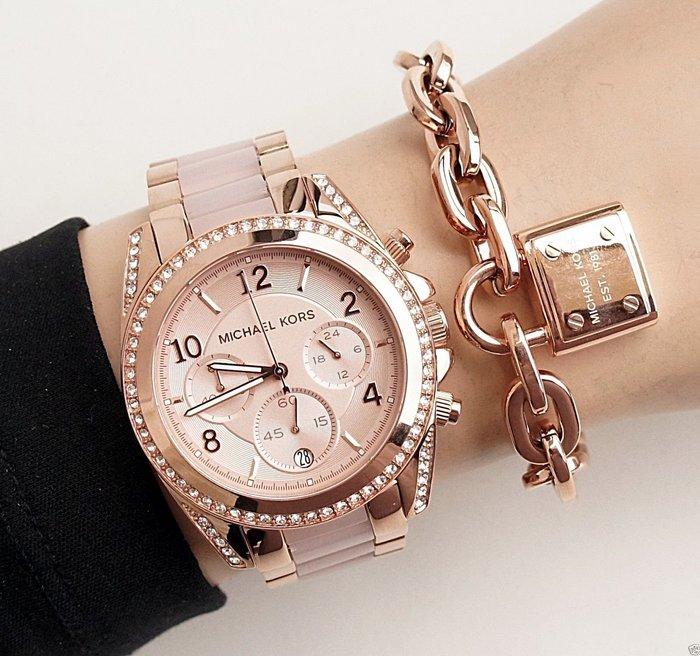 【KOIKOI戀戀時尚精品】Michael Kors 玫瑰金水鑽珍珠貝三眼腕錶 MK5943 MK 手錶 免運有保固