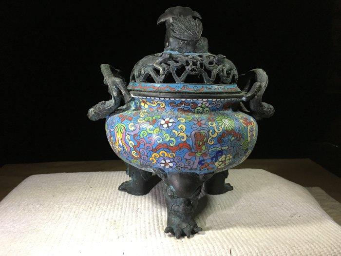 早期收藏古早文物-景泰藍-雙耳貔貅祥獸三足鼎淨香爐