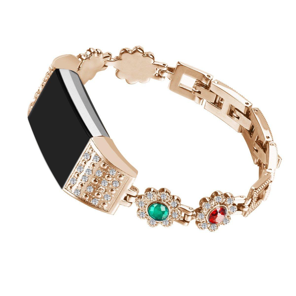 丁丁 新款女式氣質鑲鑽鏤空 fitbit charge 2 鏈式 智能替換手環 錶帶 鋁合金材質 玫瑰金 氣質銀