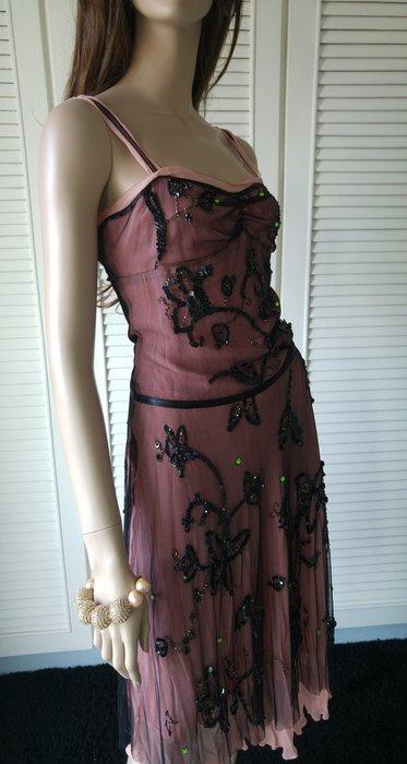 BCBG 網紗黑色珠繡100%silk 純絲小禮服