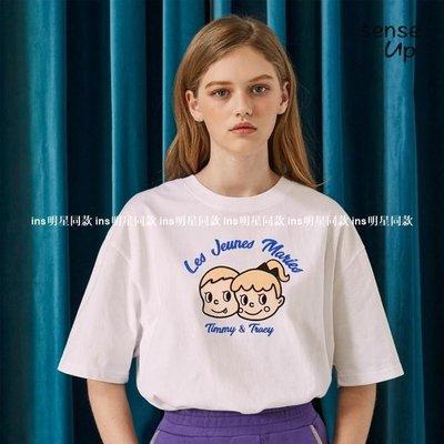 ins明星同款女裝SENSE20新款夏韓國正品amble新r設計師品牌情侶小人刺繡圓領T恤 3色OP60