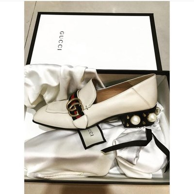 Gucci loafer 珍珠白復古鞋38號