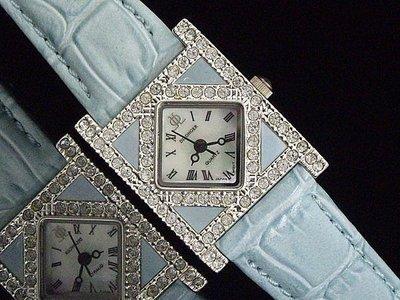 艾曼達精品~momo購物台熱賣Dilonger水晶鑽防水石英錶16mm真牛皮製錶帶
