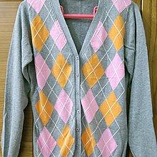 【木風小舖】轉賣In Extenso.菱格雙色排釦 V領針織外套*麻灰S號