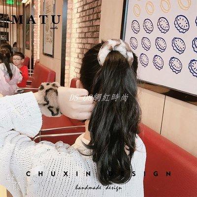 DS_08網紅時尚MT豹紋丸子頭盤髮器花苞頭卷髮棒髮飾頭飾啪啪圈扎髮神器成人韓國