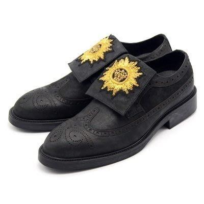 皮鞋 真皮休閒太陽章魔術貼鞋-復古巴洛克雕花印度手工男鞋73kv1[獨家進口][米蘭精品]