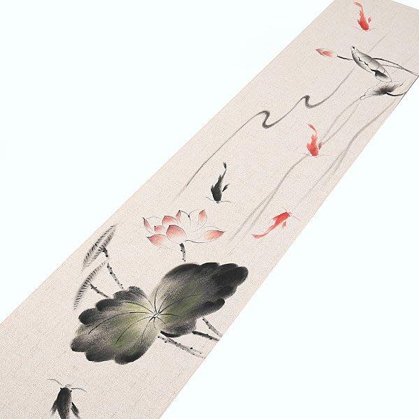 5Cgo【茗道】中式棉麻布藝長條茶台桌布中國風新古典茶布茶席定制植物花卉茶席30X120簡約古樸570369422192