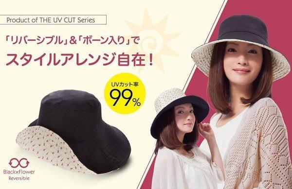 抗uv遮陽帽 有效阻擋紫外線99% 可收納 正反面皆可使用 《黑色+白色小碎花款》