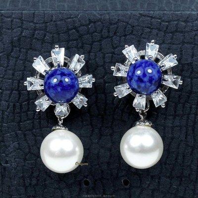 珍珠林~特價出清~全圓全美~8mm硨磲貝珍珠搭配藍石針式耳環 #769