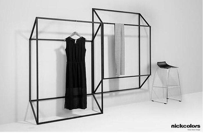 尼克卡樂斯 ~極簡鐵製造型壁掛衣架(凹型、凸型)  鐵製吊衣架 服飾店展示架 北歐極簡風吊衣桿 工業風掛衣架
