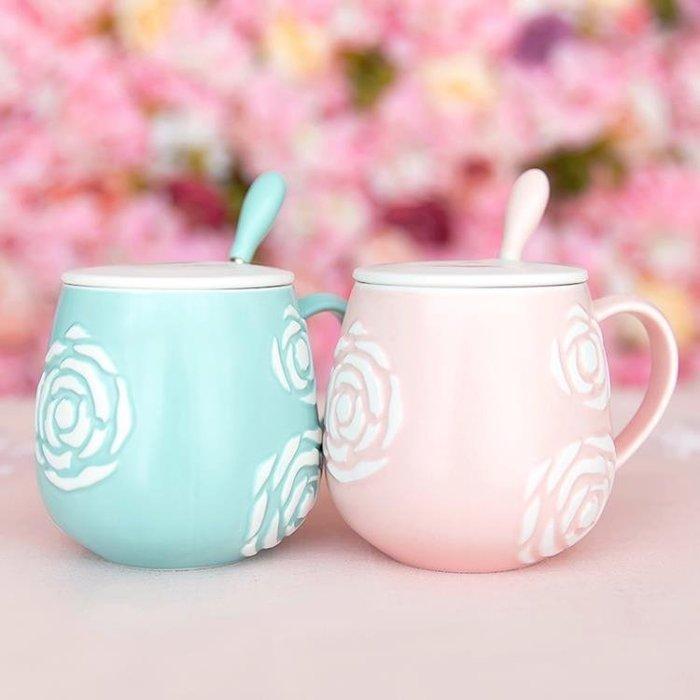 ☜男神閣☞可愛陶瓷杯子馬克杯帶蓋勺創意女學生茶杯潮流正韓情侶喝水杯一對