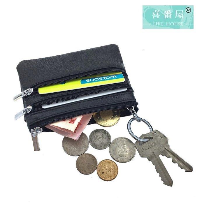 【喜番屋】真皮頭層牛皮多隔層便攜男女通用拉鍊皮夾皮包錢夾零錢包卡片包鑰匙包女夾【LH397】