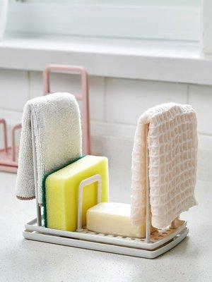新款家居居家家塑料海綿瀝水架廚房收納掛架臺面水槽鋼絲球廚具抹布置物架