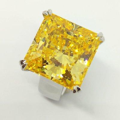 黃彩鑽25克拉鑽石戒指顏色濃黃鵝黃高檔...