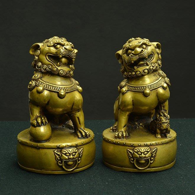 【睿智精品】中式居家擺設 鎮宅銅獅一對 風水擺件 客廳擺設 銅製(GA-4401)