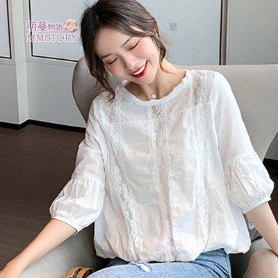 透氣親膚雙層棉拼蕾絲選瘦襯衫 S-XL可選 萌蔓物語【KX3636】韓氣質女上衣