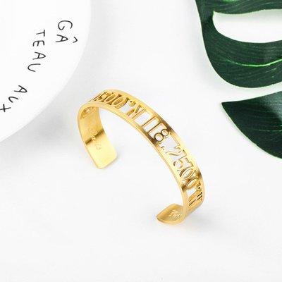 千禧禧居~原創longitude latitude鏤空經緯度時尚情侶鈦鋼開口手鐲男女手環