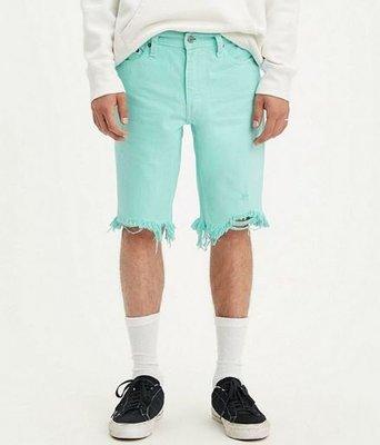 【褲腳抽鬚款29-44腰】美國LEVI S 511 SLIM CUT-OFF SHORTS 湖水藍 窄管 短褲 牛仔短褲